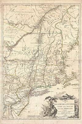 1777 Brion De La Tour Map Of New York And New England Revolutionary War Art Print by Paul Fearn
