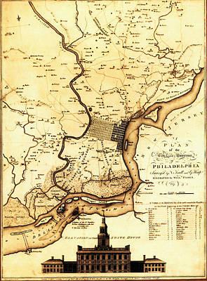 1777 Philadelphia Map Art Print by Bill Cannon