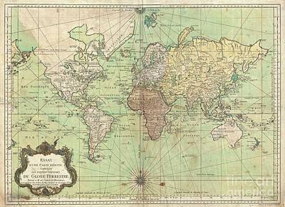 1778 Bellin Nautical Chart Or Map Of The World Art Print by Paul Fearn