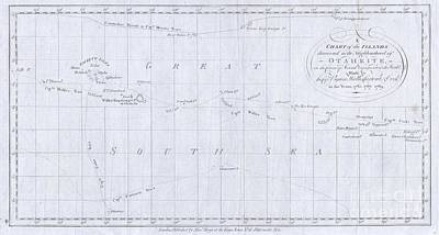Old World Vintage Cartographic Maps Wall Art - Photograph - 1780 Cook  Hogg Map Of Tahiti  by Paul Fearn