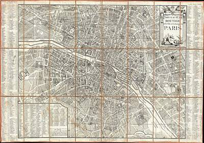 Old World Vintage Cartographic Maps Wall Art - Photograph - 1780 Esnauts And Rapilly Case Map Of Paris by Paul Fearn