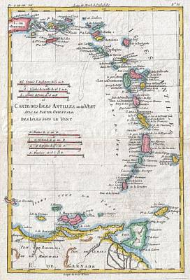 1780 Raynal And Bonne Map Of Antilles Islands Art Print