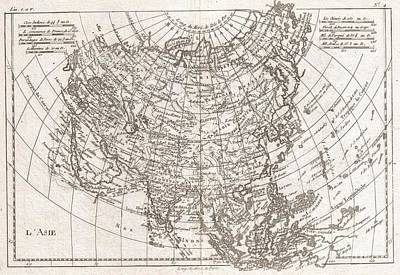 1780 Raynal And Bonne Map Of Asia Art Print by Paul Fearn