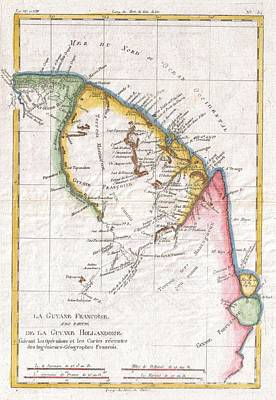 1780 Raynal And Bonne Map Of Guyana And Surinam Art Print by Paul Fearn