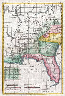 1780 Raynal And Bonne Map Of Louisiana Florida And Carolina Art Print by Paul Fearn