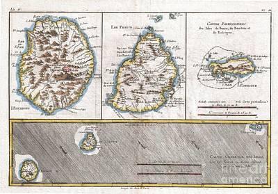 1780 Raynal And Bonne Map Of Mascarene Islands Reunion Mauritius Bourbon Art Print