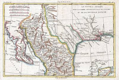 1780 Raynal And Bonne Map Of Mexico And Texas  Art Print by Paul Fearn