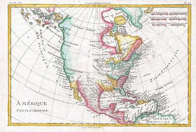 1780 Raynal And Bonne Map Of North America Art Print by Paul Fearn