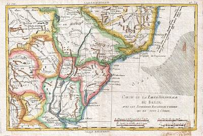 1780 Raynal And Bonne Map Of Southern Brazil Northern Argentina Uruguay And Paraguay Art Print by Paul Fearn