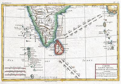 1780 Raynal And Bonne Map Of Southern India Art Print by Paul Fearn