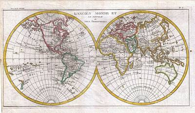 1780 Raynal And Bonne Map Of The Two Hemispheres Art Print by Paul Fearn