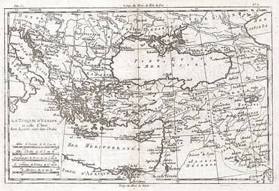 Travel To Hungary Photograph - 1780 Raynal And Bonne Map Of Turkey In Europe And Asia by Paul Fearn
