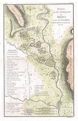 1783 Bocage Map Of The Topography Of Sparta Ancient Greece And Environs Print by Paul Fearn