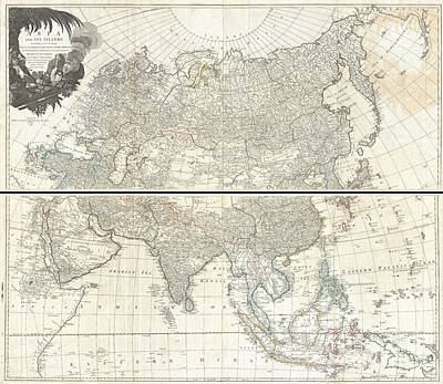 1784 D Anville Wall Map Of Asia Art Print by Paul Fearn