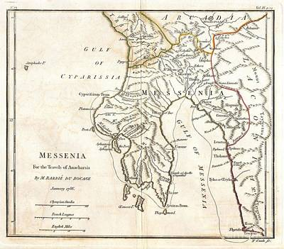 1786 Bocage Map Of Messenia In Ancient Greece Print by Paul Fearn