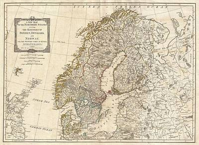1794 Antique Map Norway Sweden Art Print by Dan Sproul