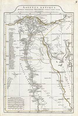 Etc. Egypt Photograph - 1794 Anville Map Of Ancient Egypt  by Paul Fearn