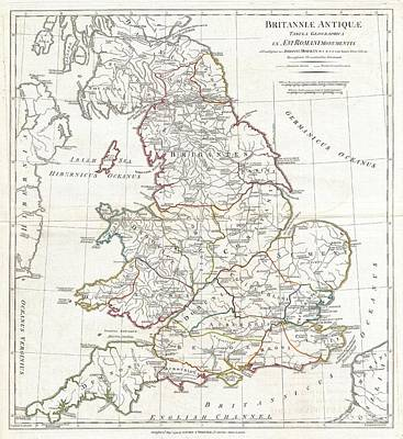 1794 Anville Map Of England In Ancient Roman Times Art Print by Paul Fearn
