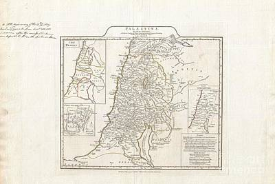 1794 Anville Map Of Israel Palestine Or The Holy Land In Ancient Times Art Print