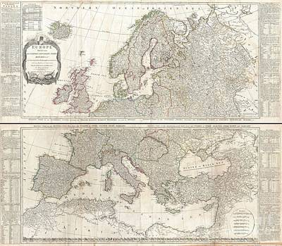 Travel To Hungary Photograph - 1794 D Anville Two Panel Wall Map Of Europe by Paul Fearn