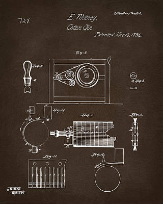 Digital Art - 1794 Eli Whitney Cotton Gin Patent 2 Espresso by Nikki Marie Smith