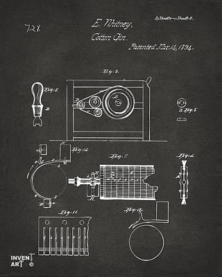 Digital Art - 1794 Eli Whitney Cotton Gin Patent 2 Gray by Nikki Marie Smith