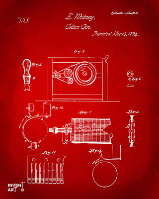 Digital Art - 1794 Eli Whitney Cotton Gin Patent 2 Red by Nikki Marie Smith