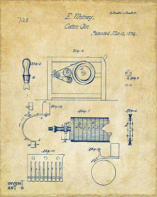 Digital Art - 1794 Eli Whitney Cotton Gin Patent 2 Vintage by Nikki Marie Smith