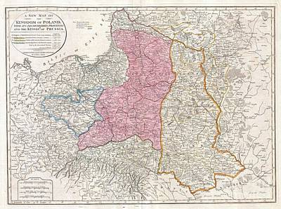 Travel To Hungary Photograph - 1794 Laurie And Whittle Map Of Poland And Lithuania After Second Partition by Paul Fearn