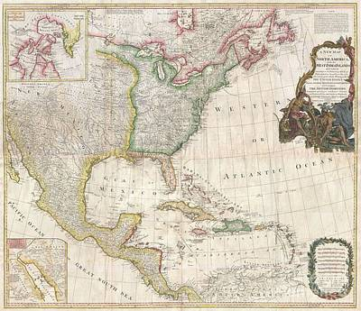 1794 Pownell Wall Map Of North America And The West Indies Art Print by Paul Fearn