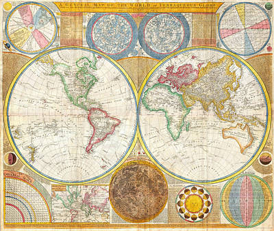 Painting - 1794 Samuel Dunn Wall Map Of The World In Hemispheres by Samuel Dunn