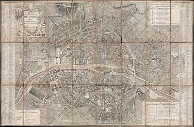 Map Photograph - 1797 Jean Map Of Paris And The Faubourgs by Paul Fearn
