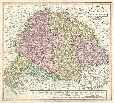Travel To Hungary Photograph - 1799 Cary Map Of Hungary Croatia And Transylvania by Paul Fearn