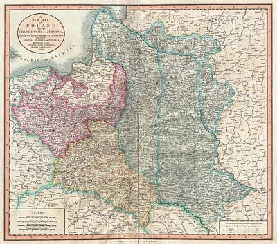 1799 Cary Map Of Poland Prussia And Lithuania  Art Print by Paul Fearn