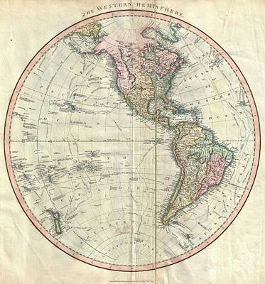 1799 Cary Map Of The Western Hemisphere  Art Print