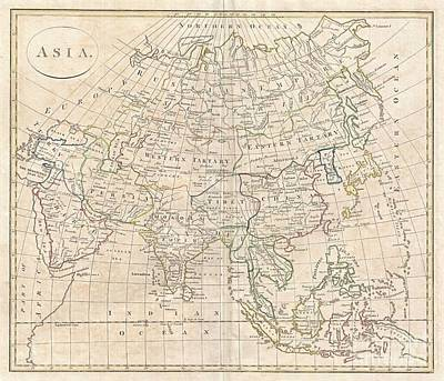 Further Traces Photograph - 1799 Clement Cruttwell Map Of Asia by Paul Fearn