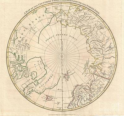 1799 Clement Cruttwell Map Of North Pole Art Print by Paul Fearn