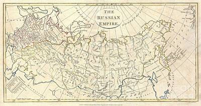 1799 Clement Cruttwell Map Of Russian Empire Art Print by Paul Fearn