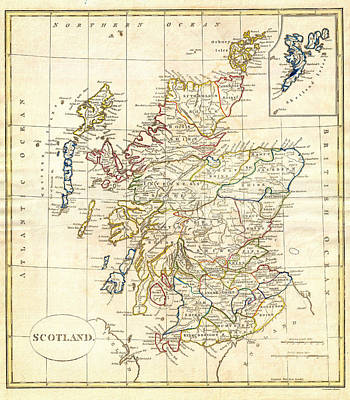Scotland Painting - 1799 Clement Cruttwell Map Of Scotland by MotionAge Designs