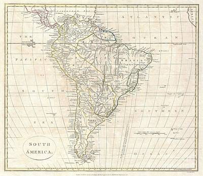 1799 Clement Cruttwell Map Of South America  Art Print by Paul Fearn