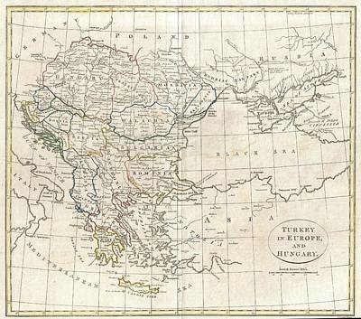 Travel To Hungary Photograph - 1799 Clement Cruttwell Map Of Turkey In Europe  by Paul Fearn