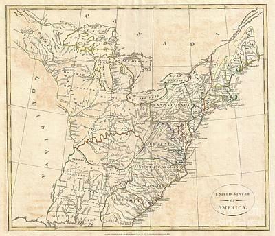 1799 Cruttwell Map Of The United States Of America Art Print by Paul Fearn