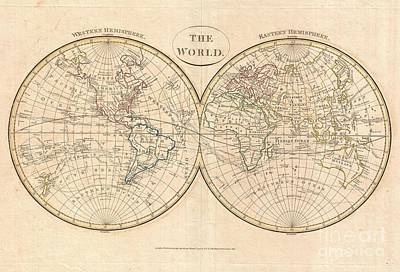 1799 Cruttwell Map Of The World In Hemispheres Art Print by Paul Fearn