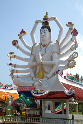 Statue Of David Photograph - 18 Arm Buddha Statue At Wat Plai Laem by David R. Frazier