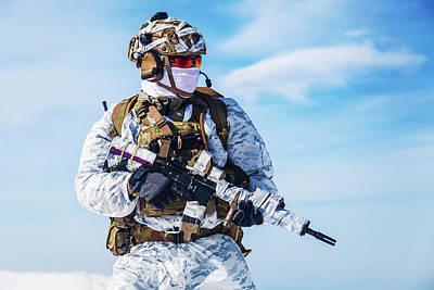 Photograph - Army Serviceman In Winter Camo by Oleg Zabielin