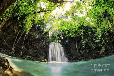 Erawan Waterfall Art Print