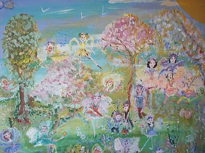 Art Print featuring the painting 18 Fairy Party In Fairyland by Judith Desrosiers