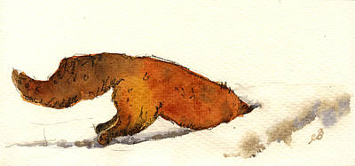 Fox Painting - Red Fox by Juan  Bosco