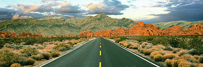 Valley Of Fire Photograph - Road Passing Through A Landscape by Panoramic Images
