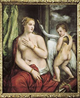 Leda And The Swan Photograph - Ttitia, Tiziano Vecello, Also Called by Everett